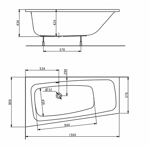 Ванна Kolo Split 150х80 см правая правая