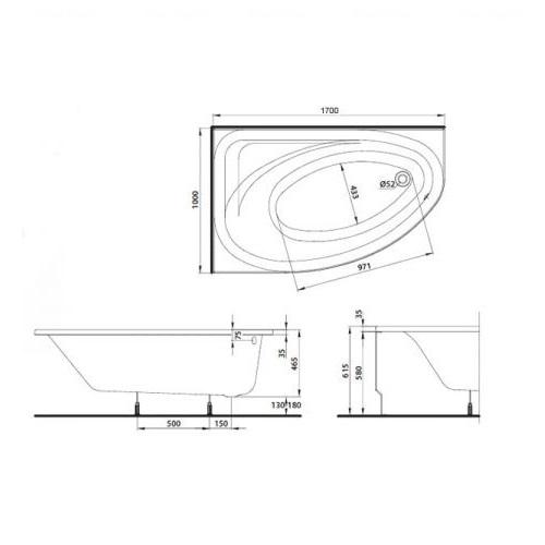 Ванна Kolo Spring 170x100 с сифоном Geberit левая левая
