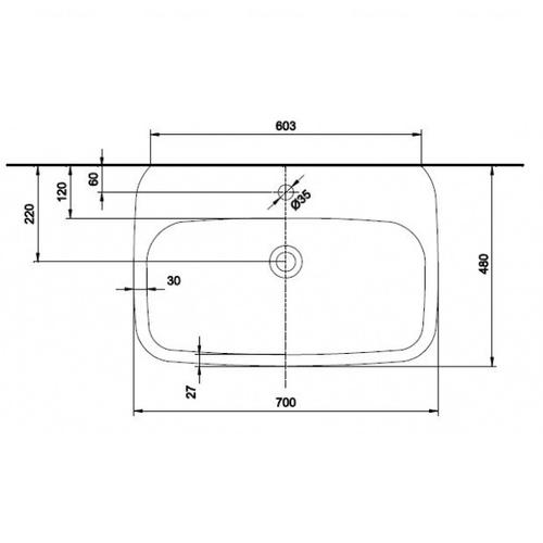 Умывальник Kolo Style 70 обычное покрытие обычное покрытие