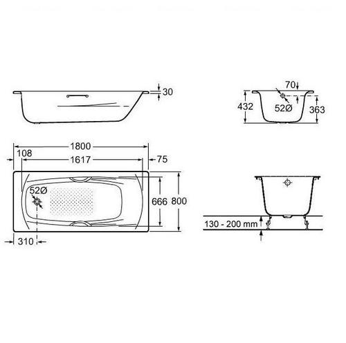 Ванна стальная Roca Swing 1800 (A220070001) с ручками с ручками