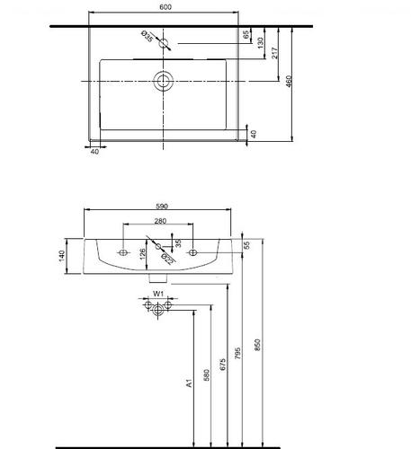 Умывальник Kolo Twins 60, прямоугольная раковина обычное покрытие обычное покрытие