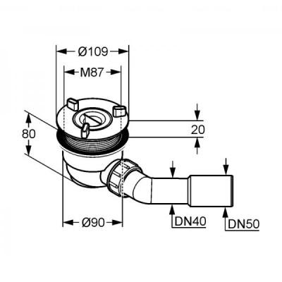 Сифон для душевого поддона Kludi Tasso Plus 90 (2109100-00)