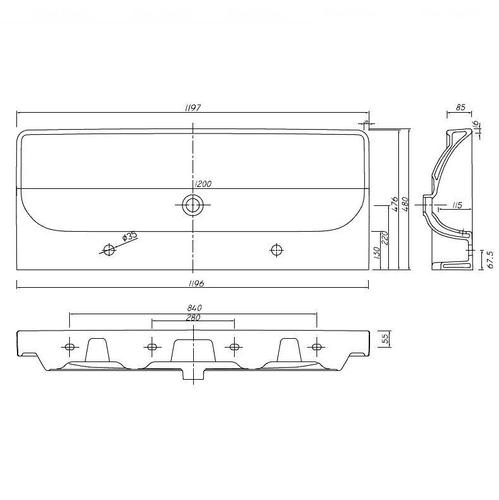 Умывальник мебельный двойной Kolo Traffic 120, 2 отверстия обычное покрытие обычное покрытие