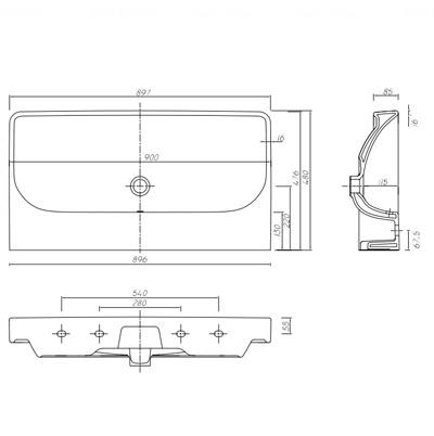 Умывальник мебельный Kolo Traffic 900 обычное покрытие обычное покрытие