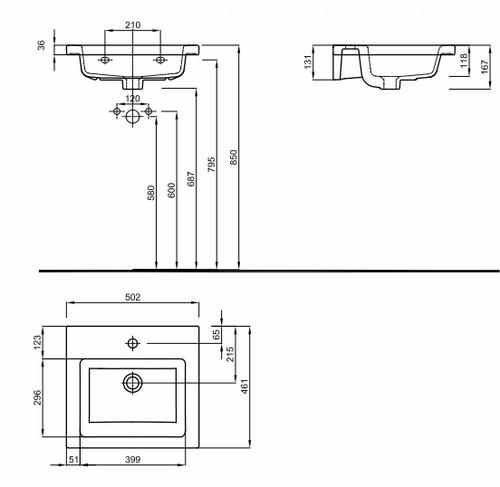 Умывальник мебельный Kolo Twins 50, с тонким бортом обычное покрытие обычное покрытие