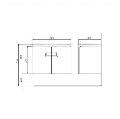 Тумба для умывальника Kolo Twins 80, с дверцами белый глянец белый глянец