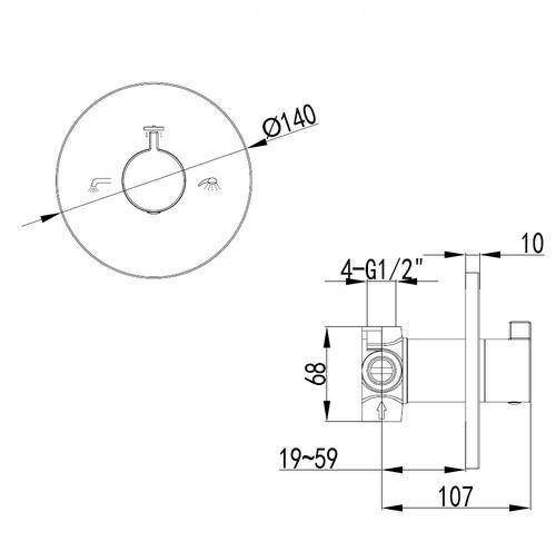 Запорный/переключающий вентиль Imprese Zamek VR-151031