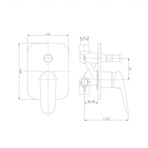 Смеситель для ванны Imprese Praha New VR-10030(Z)