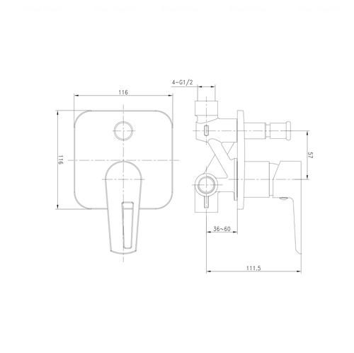 Смеситель для ванны и душа Imprese Breclav VR-10245WZ