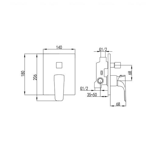 Смеситель для ванны и душа Imprese Valtice VR-10320(Z)