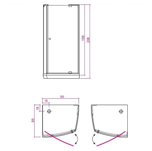 Душевая кабина Balteco Vibe (низкий поддон) стекло прозрачное Т1 стекло прозрачное Т1