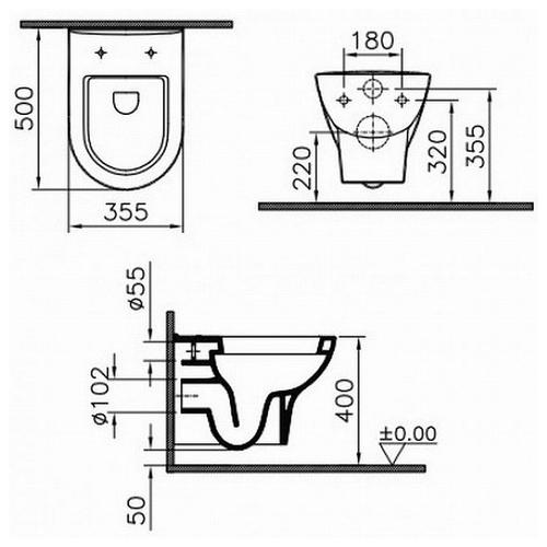Унитаз подвесной Koller Pool Zentrum крышка стандарт крышка стандарт