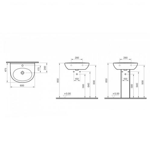 Умывальник Koller Pool Zentrum 60 см (5786N003-1301)