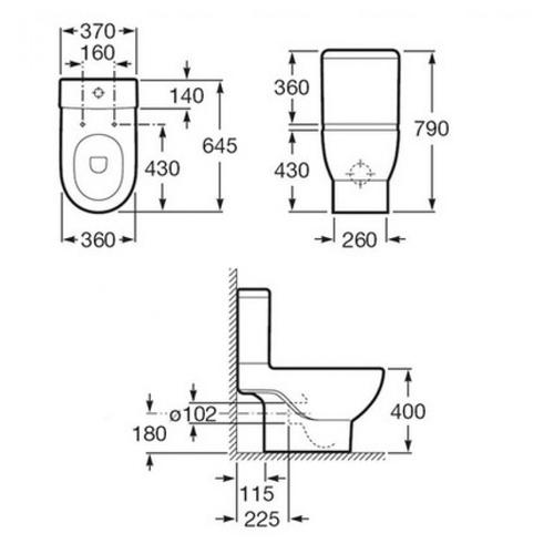 Чаша напольного унитаза Roca Meridian-N (A342247000)