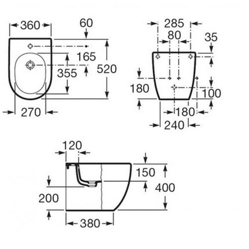 Биде Roca Meridian-N Compacto (A357247000)