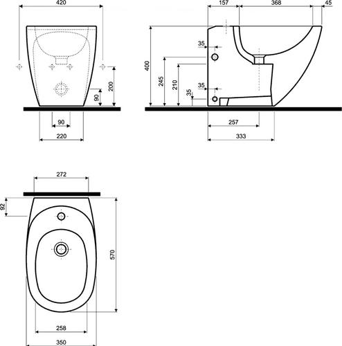 Биде подвесное Kolo EGO by Antonio Citterio обычное покрытие обычное покрытие