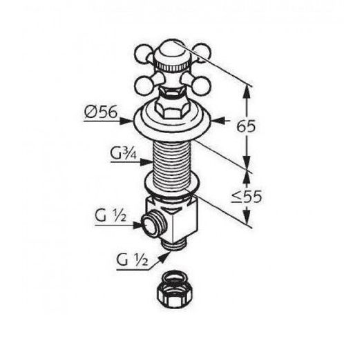 Боковой вентиль Kludi Adlon Ø 56 мм хром, COLD хром, COLD