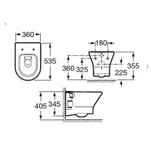 Чаша подвесного унитаза Roca Nexo (A346640000)