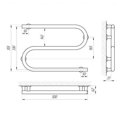 Электрический полотенцесушитель Laris Змеевик 25 ЧФ2 500х330 левая розетка левая розетка