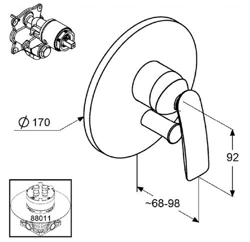 Смеситель для ванны и душа Kludi Balance Ø 170 мм хром хром