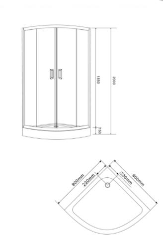 Душевая кабина Eger Tisza Amur 90х90х185 см, без поддона, стекло+двери (599-021/1)