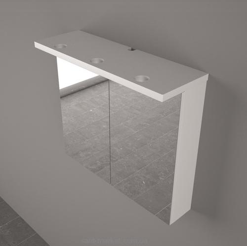 Шкафчик зеркальный Fancy Marble MC-10 (ШЗ-10) белый/венге/серый белый/венге/серый