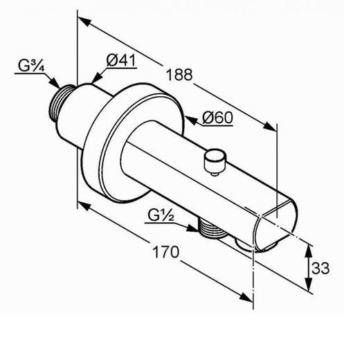 Излив для ванны Kludi Zenta 170 мм (1350105)