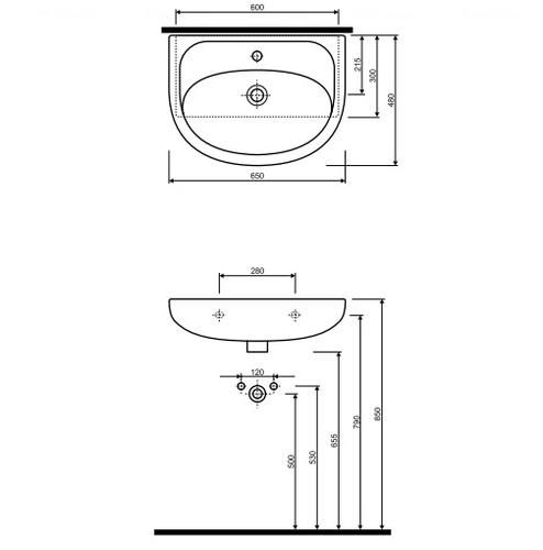 Умывальник мебельный Kolo Nova 65