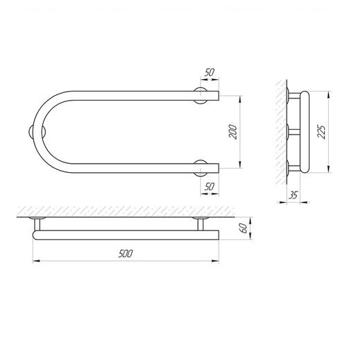 Электрический полотенцесушитель Laris Змеевик 25 РС1 500х200, левое подключение (73207187) хром хром