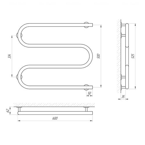 Электрический полотенцесушитель Laris Змеевик 25 РС3 600х500, правое подключение (73207036) хром хром