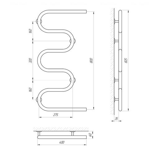 Полотенцесушитель Laris Змеевик 25 РС5 400х800 (71207187) хром хром