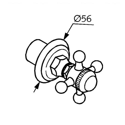 Переключатель на 2 положения Kludi Adlon, горизонтальный монтаж хром  хром