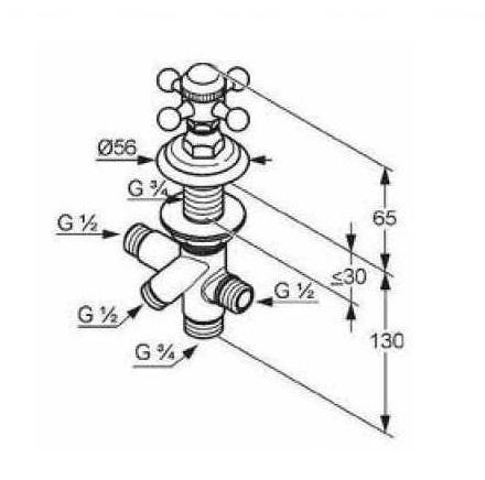 Переключатель на 2 положения Kludi Adlon, вертикальный монтаж хром хром