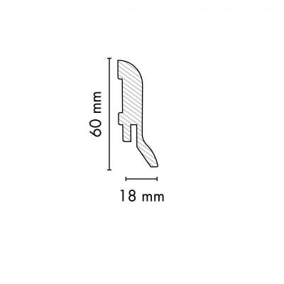 Плинтус AGT 2790х60х18 мм Сильвер ( арт. 1860 ) Белый Белый