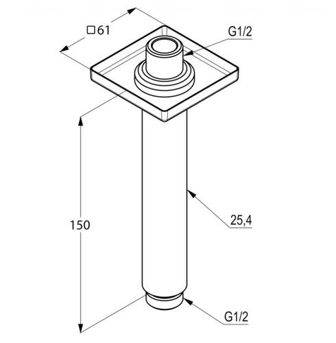 Кронштейн для верхнего душа Kludi A-QA 150 мм хром хром