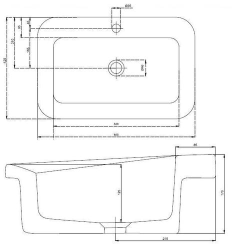 Умывальник встраиваемый Kolo Cocktail 65, прямоугольный обычное покрытие обычное покрытие
