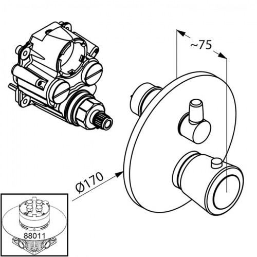 Смеситель-термостат для ванны и душа Kludi Balance Ø 170 мм хром хром