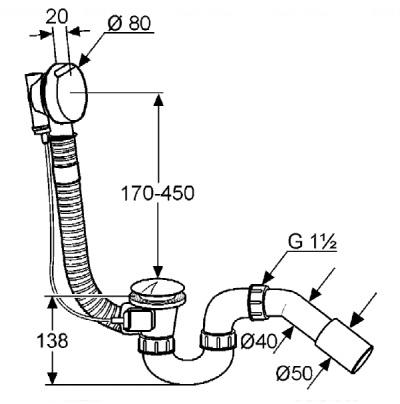 Слив-перелив G 1 1/2 Kludi Rotexa 2000 (2130005N-00)