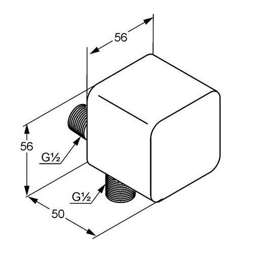 Угловое шланговое подсоединение Kludi A-QA хром хром