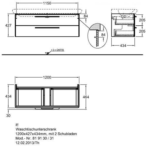 Тумба Keramag IT 1200 мм 2-а ящика белый глянец белый глянец