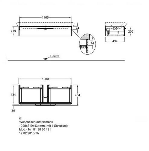 Тумба Keramag IT 1200 мм 1-н ящик белый глянец белый глянец