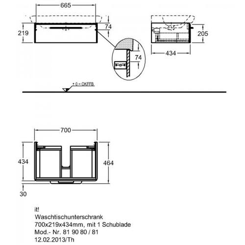 Тумба Keramag IT 700 мм 1-н ящик белый глянец белый глянец