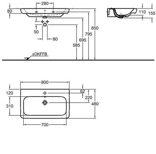 Тумба Keramag IT 700 мм 2-а ящика белый глянец белый глянец