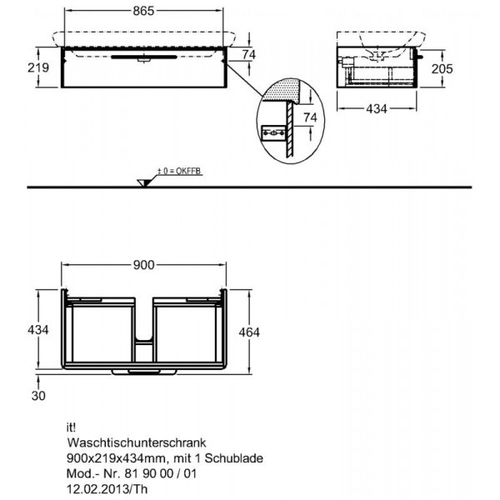 Тумба Keramag IT 900 мм 2-а ящика белый глянец белый глянец