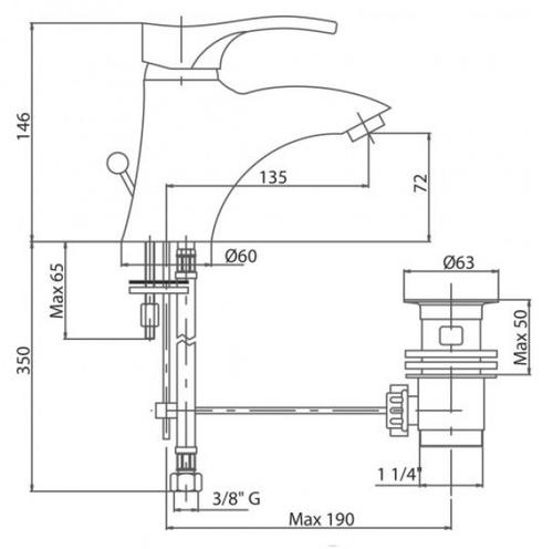 Смеситель для умывальника Bianchi Mercury (LVBMER20020ACRM)