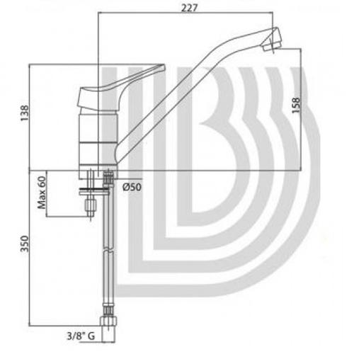 Смеситель для умывальника Bianchi Delta длинный излив хром хром