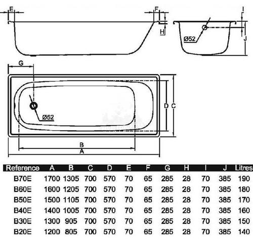 Ванна Aquart 170x70 (B70E1200Z)