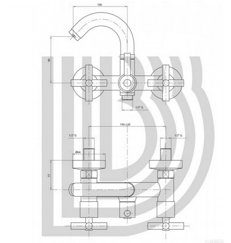 Смеситель для ванны и душа Bianchi Amelix (LVMAML111000CRM)