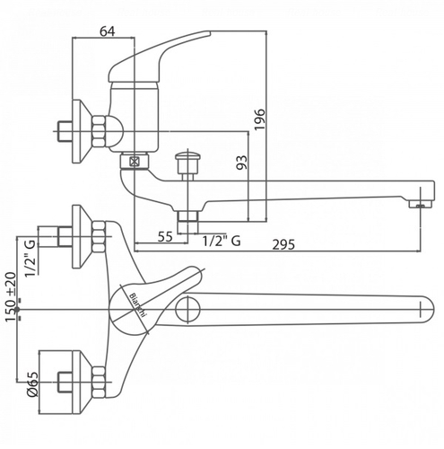 Смеситель для ванны и душа Bianchi Delta (LVBDLT2023SKCRM)