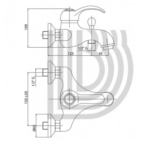 Смеситель для ванны и душа Bianchi Class с душевым гарнитуром бронза бронза